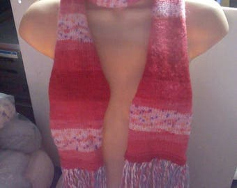 """Red toned and floral pattern (type 1) 52"""" Scarf. Knitted By KittyMumma"""
