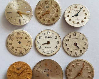 Vintage watch faces/findings enamel watch pocket steampunk