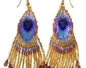 Peacock Feathers 3 - Brick Stitch Beading Pattern