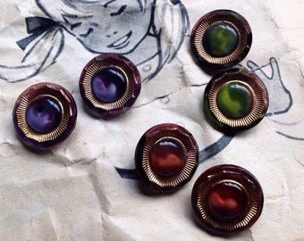 6 handpainted glass buttons - old vintage buttons from germany - 3 colors available (059)