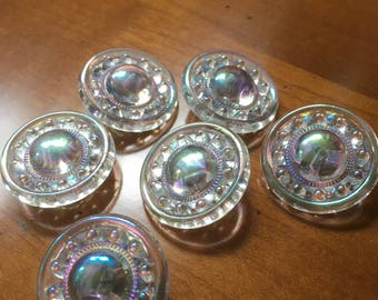 5 Aurora Borealis Glass buttons-5 dazzling glass buttons-eye-catching-old collectors/glass knobs (071)