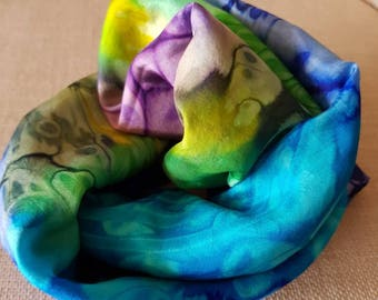 Silk Scarf Tie Dyed Purple Green Yellow Blue Black excellent condition
