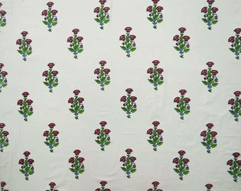 "White Light Weight Cotton Fabric, Floral Print, Dress Pillow Fabric, Quilt Fabric, 45"" Inch Upholstery Fabric By The Yard ZBC8216A"