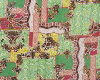 "Paisley Printed Designer Fabric, Green Fabric, Dress Material, Sewing Decor, 48"" Inch Cotton Fabric By The Yard ZBC8548A"