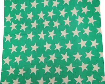 "Star Print, Green Fabric, Dressmaking Fabric, Sewing Decor, Craft Fabric, 44"" Inch Cotton Fabric By The Yard ZBC3117"