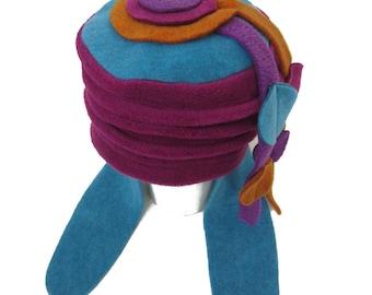 Hat chepka 6 / 36 M fleece pink multicolor Purple - Made in France