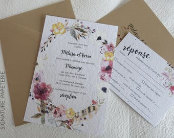 ANNE-CHARLOTTE Collection - Printable Boho Chic Floral Wedding Invitation and RSVP card Template