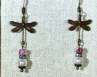 Swarovski pearl and dragon fly antique brass earrings