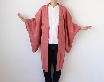 silk kimono, Haori, Japanese kimono jacket, pink kimono robe, pink robe, cardigan kimono, kimono jacket womens, silk robe, kimono /1770