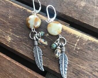 Earrings, dangle earrings, drop earrings, feather earrings, gemstone earrings, boho earrings, hippy earrings