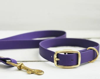 Dog Collar - Purple Vegan Leather, Biothane Dog Collar Waterproof dog collar. Matching lead available separately. Silver or brass buckle