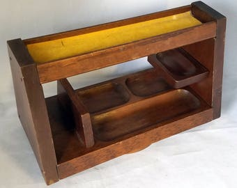 MidCentury Wood Desk Caddy Organizer Spin Rotating Office