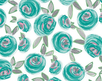 Curiosities Main White - Riley Blake Designs - Floral Flowers Teal - Quilting Cotton Fabric - choose your cut