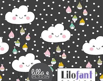 Sweet Drops Clouds, Grey - Lilofant Organic Cotton Lycra Jersey Knit Fabric