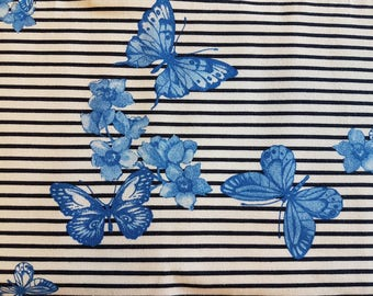 Butterfly Stripes, Cotton Lycra Jersey Knit Fabric
