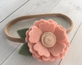 Baby headband, felt flower headband , floral headband, nylon headband