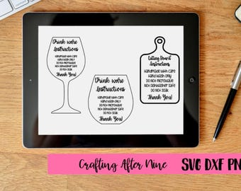 Care Card Svg, Drinkware Bundle, Apply Vinyl Decal, Print and Cut File, Silhouette, Cutting Board Instructions, SVG Design, File ONLY