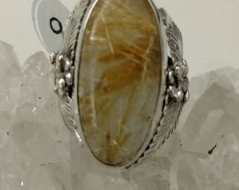 Golden Rutilated Quart and 925 Sterling Silver, Size 9