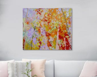 """ORIGINAL TREE Painting Large Oil Painting On Canvas Abstract Forest View landscape Wall Art Textured  Fine Art, 35"""" x 43"""" (90 cm x 110 cm)"""