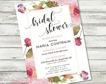 Floral Pink Roses Bridal Shower Invitation - Chic and Pretty