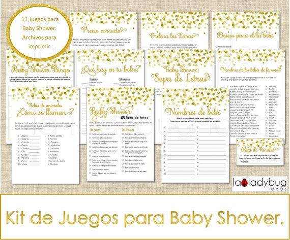 Juegos Para Baby Shower. Archivos PDF/JPEG Para Imprimir. 11 Juegos. Baby  Shower Games In Spanish. Sopa De Letras, Carrera De Nombres, Bingo