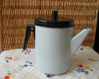 Enamel Coffee Kettle. Soviet Blue Coffee Pot. Enamel Can. Enamel Teapot. Enamelware. Soviet Dishes. Russian Kitchen. Soviet Era. Rustic Home