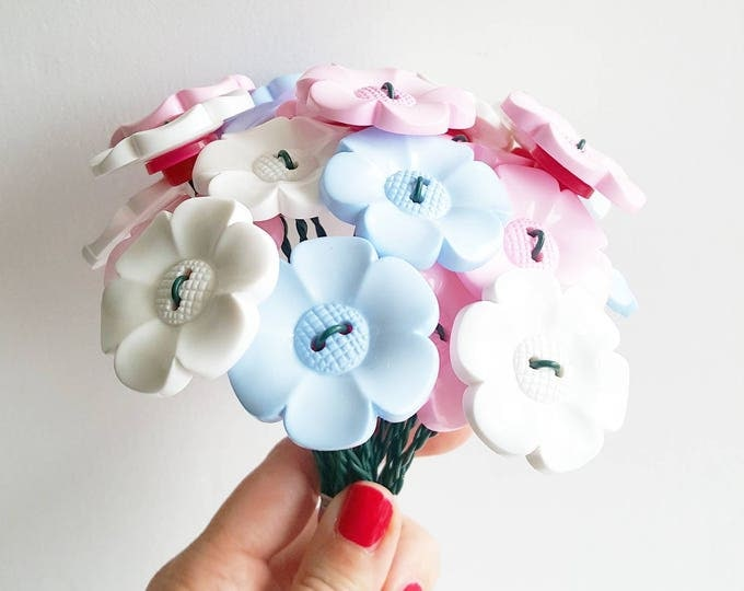 Baby pink, blue and white big daisy bouquet