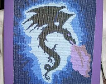 Blue and purple beaded dragon
