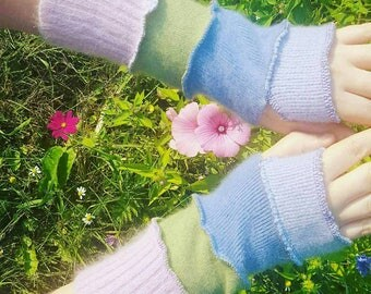 Upcycled pastel cashmere pixie armwarmers