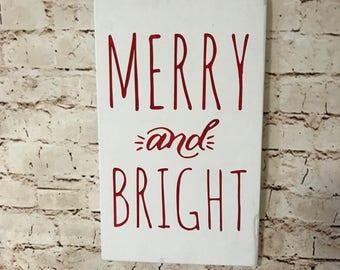 Merry & Bright - Handpainted Sign