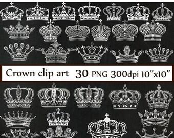 """40%SALE Chalkboard Crown clipart: """"CROWN CLIP Art"""" Royal Crown Clipart  Silhouette Clipart white crowns Chalkboard clip art  Digital Crown C"""