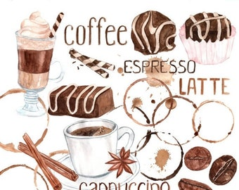 """40%SALE Watercolor coffee clipart: """"SWEETS CLIPART"""" Coffee bean clipart  Coffee Mug Sweets clip art Artistic Late Clipart Coffee stains clip"""