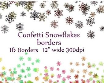 """40%SALE Snowflake confetti clipart: """"CHRISTMAS CONFETTI"""" Snowflake overlay Snowflake borders Falling Snow confetti Frozen clipart Winter cli"""