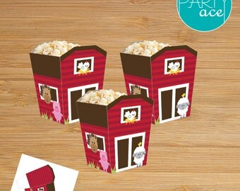 Farm Barn Animals Popcorn Favor Candy Treat Box Printable Happy Birthday Decoration