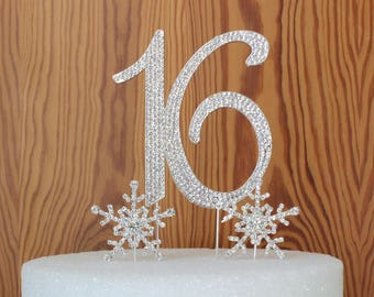 Sweet 16th OR 15th Birthday cake topper. Rhinestone Cake decoration. Crystal snowflakes cake picks. Number 16 or 15 Cake pick