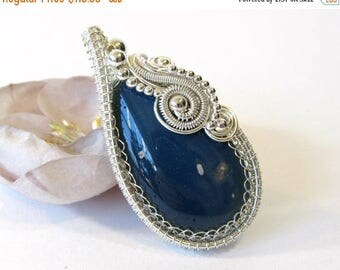 SALE Wire Wrapped Pendant, Leland Blue Slag Glass Stone, Unique Wire Wrap Pendant, Upcycled 19th Century Industrial Material, Handmade Necla