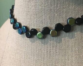 Honeycomb choker necklace jet black