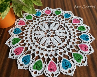 Crochet Heart doily/ round lace/ tablecloth