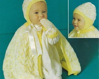 PDF Vintage Baby Knitting Pattern Cape Bonnet Cloak Poncho Lacy Patons 1268 Fairytale Mittens Pram Heirloom Christening Victorian style
