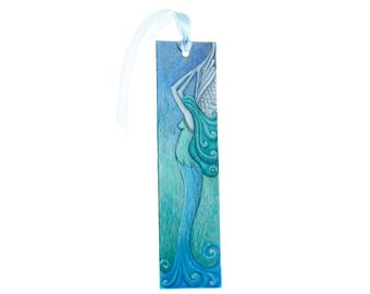 Handpainted paper bookmark with an angel