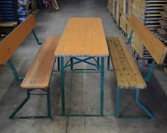 Vintage Industrial Style Pine Beer Festival Pub Trestle Table U0026 2 Benches  Set Part 47