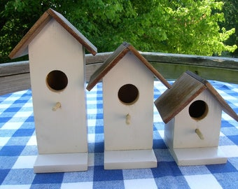 Cedar Birdhouses - Decorative, Light Khaki, Set of 3 - Garden, Deck, Patio, Porch