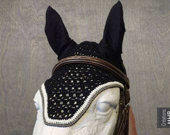 Horse Fly Bonnet in Black, White and Grey | Size Full | 2018 Collection