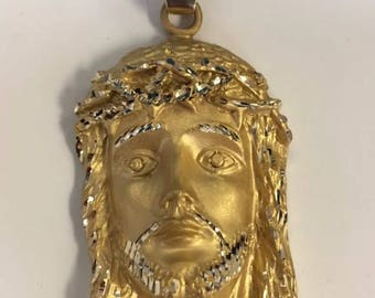Christ face silver with 18k gold plating