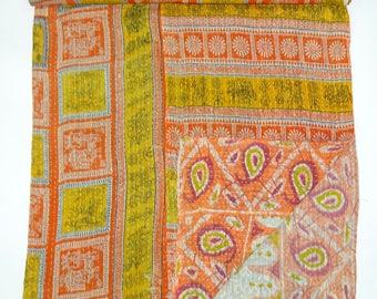 Handmade Vintage Kantha Quilt Reversible Bedsheet Indian Throw Ethnic Cotton Hand Stitched Old Gudari Floral Reversible Bedspread VG143