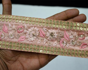 Pink Saree Border Fabric Trim By The Yard Embroidered Wholesale Trimmings Ribbon Indian Sari Border gold indian trim Crafting Sewing