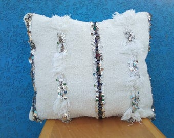 Vintage wedding blanket cushion, handira pillow,  Berber cushion