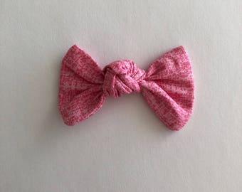 Knot Hair Bow-- Headband or Hair Tie-- Strawberry