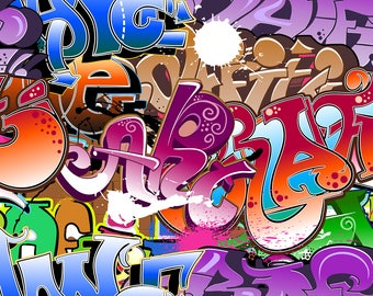 graffiti Backdrop - bright graffito, colored colorful painted brick wall - Printed Fabric Photography Background W1263