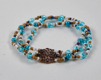 Thalassa Turquoise and Gold Beaded Bracelet with Filigree